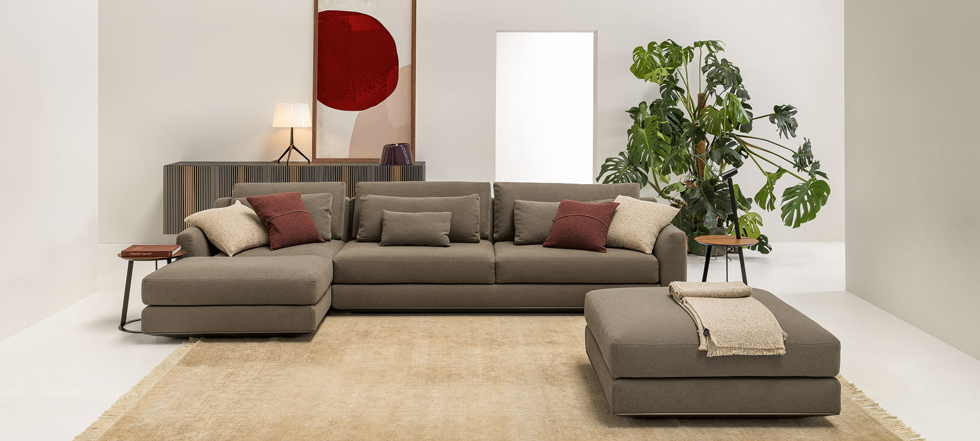 Living room with brown Ellington sofa and Carlos sideboard