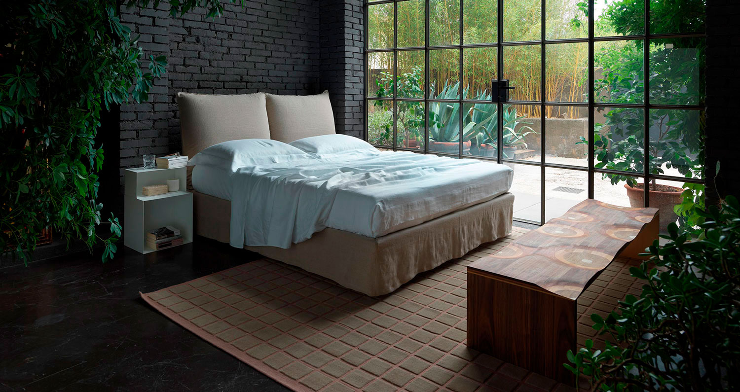 Milos beige bed in a bedroom