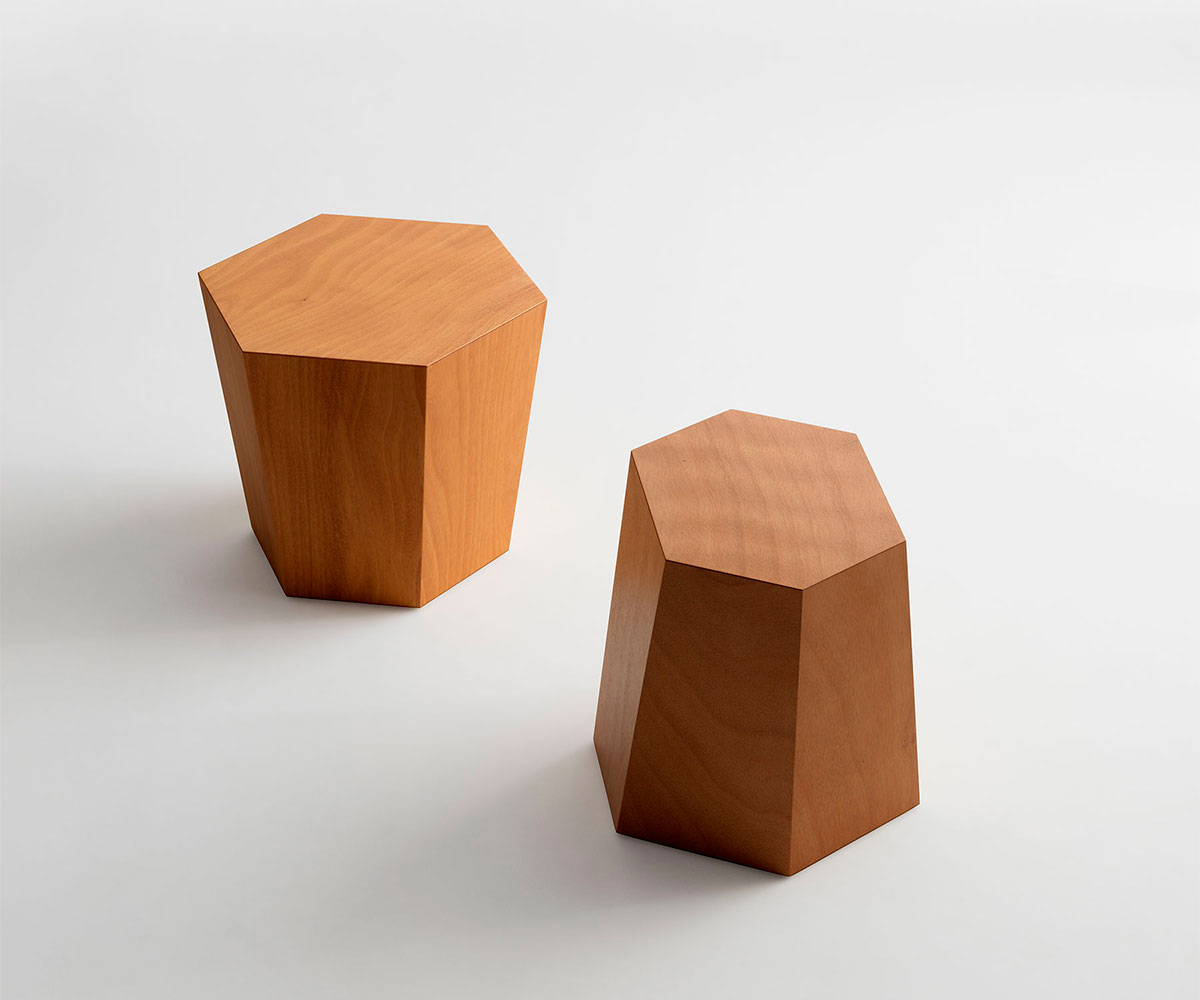 Stool and side table Hexagon Legno